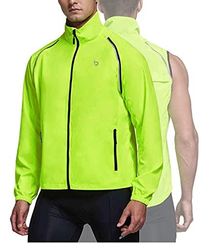 BALEAF Men's Cycling Bike Jacket Running Vest Windbreaker Removable Sleeve Lightweight Reflective Windproof Warm up Fluorescent Yellow Size L