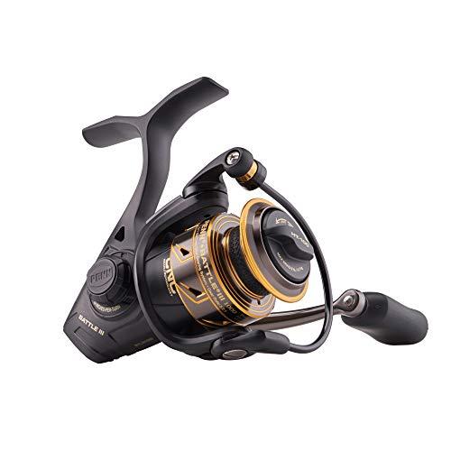 PENN Fishing Battle II & III Spinning Fishing Reel (All Models & Sizes), Black Gold, BTLIII1000