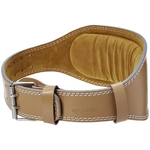 AmazonBasics 6 Inch Wide Padded Weight Lifting Belt - Small, Tan