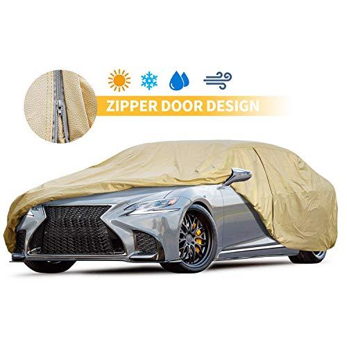 Car Covers Outdoor Driver Door Zipper Gold Auto Cover 225'' All Weather Outdoor/Indoor Full Size Sedan Covers