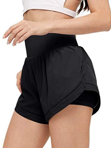 LASLULU Womens Quick-Dry Athletic Shorts Sport Loose Elastic Waist Fitness Active Running Shorts Workout Gym Yoga Shorts for Women(Black-X-Large)