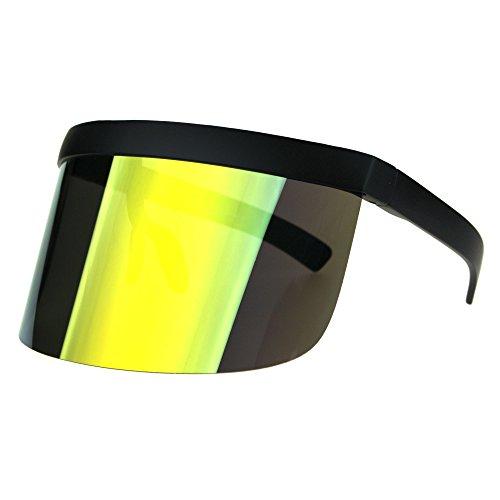 Extra Oversize Visor Style Huge Mask Color Mirror Funky Sunglasses Orange