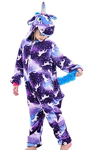 Girls Unicorn Onesie, Soft Unicorn Costume for Kids (Purple, 6 Years)