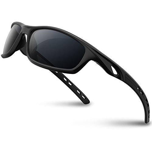RIVBOS Polarized Sports Sunglasses Driving Sun Glasses shades for Men Women Tr 90 Unbreakable Frame for Cycling Baseball Running Rb833 833-black&black