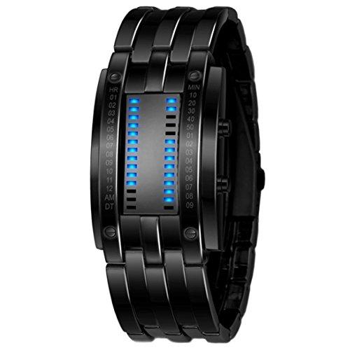 LED Sport Watch Luxury Men's Stainless Steel Date Digital Bracelet Watches (Black)