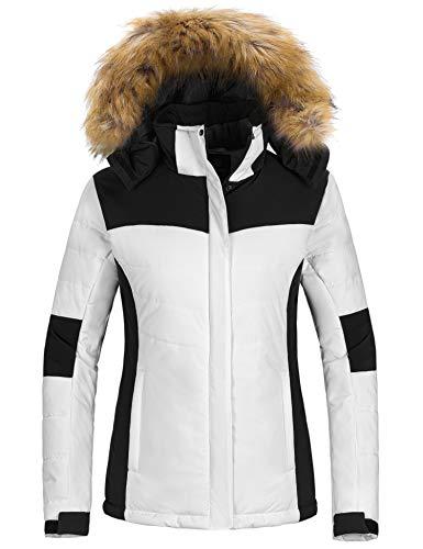 Wantdo Women's Cotton Padded Winter Jacket Waterproof Ski Jacket Mountain Snow Coats White M