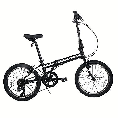 ZiZZO Campo 20 inch Folding Bike with Shimano 7-Speed, Adjustable Stem, Light Weight Aluminum Frame (Black)