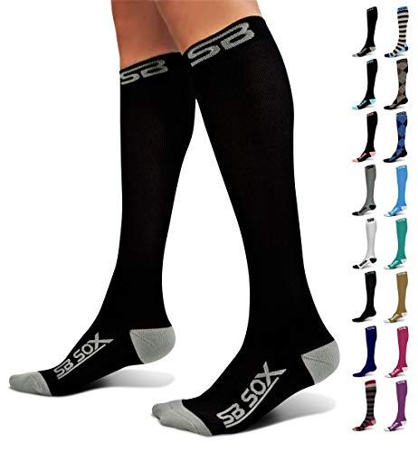 SB SOX Compression Socks (20-30mmHg) for Men & Women - Best Stockings for Running, Medical, Athletic, Edema, Diabetic, Varicose Veins, Travel, Pregnancy, Shin Splints (Black/Gray, Large)