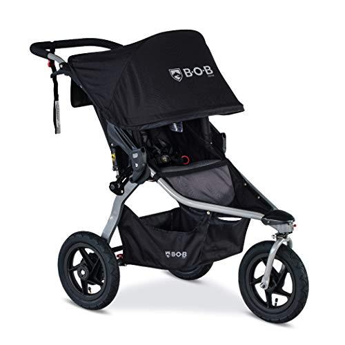 BOB Gear Rambler Jogging Stroller in Black | Smooth Ride Suspension + Easy Fold + XL Canopy Coverage [New Logo]