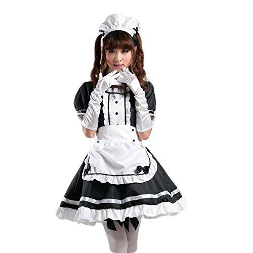 Sheface Women's Anime Cosplay French Apron Maid Fancy Dress Costume (Medium, Black/White)