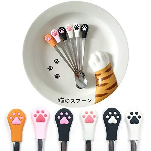 Silicone Head Cat Paw Design Stainless Steel Coffee/Tea/Dessert/Drink/Mixing/Milkshake Spoon Tableware Flatware Gadgets Hanging Spoon Hanging Spoon