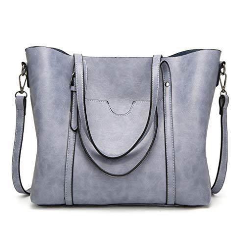 Pahajim fashion Women PU Leather Bucket Bag business Purses Waterproof Handbags Tote Top Handle Satchel Shoulder with Zipper for Ladies(Blue)