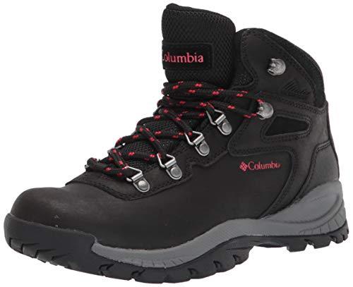Columbia womens Newton Ridge Plus Waterproof Hiking Boot, Black/Poppy Red, 7 US