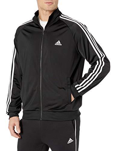 adidas Men's Essentials 3-Stripe Tricot Track Jacket, Black/White, Large