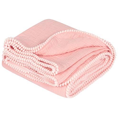 TILLYOU Organic Muslin Swaddle Blanket for Infant, Newborn, Toddler, 100% Soft Cotton Swaddling Receiving Blanket with Pom Pom, Large Lightweight Baby Wrap Blanket, 44x44 Pink