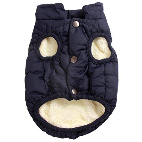 JoyDaog 2 Layers Fleece Lined Warm Dog Jacket for Winter Cold Weather,Soft Windproof Medium Dog Coat,Blue L
