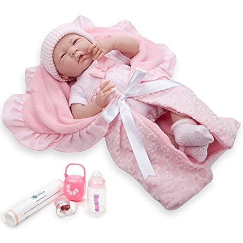 JC Toys 18780 La Newborn Soft Body Boutique Baby Doll, 15.5-Inch, Pink