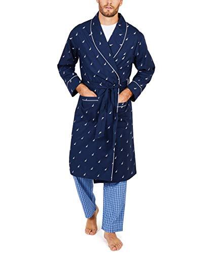 Nautica Men's Long Sleeve Lightweight Cotton Woven Robe, Peacoat, Small/Medium