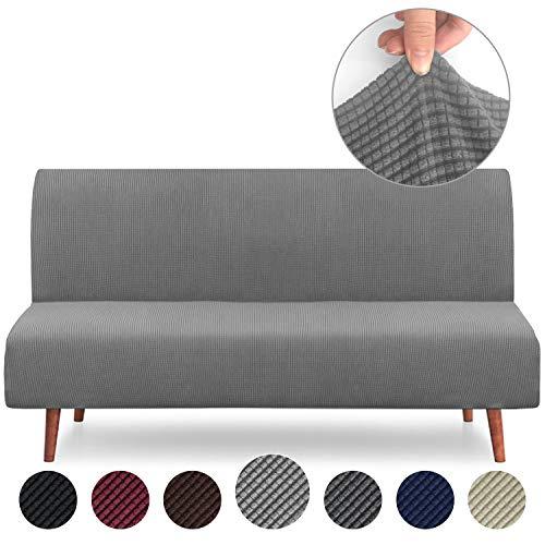 Rose Home Fashion RHF Jacquard-Stretch Futon Slipcover Futon Cover Sofa Slipcover Without Armrests Armless Sofa Cover Sofa Bed Cover Furniture Protector for Futon (Futon: Gray)