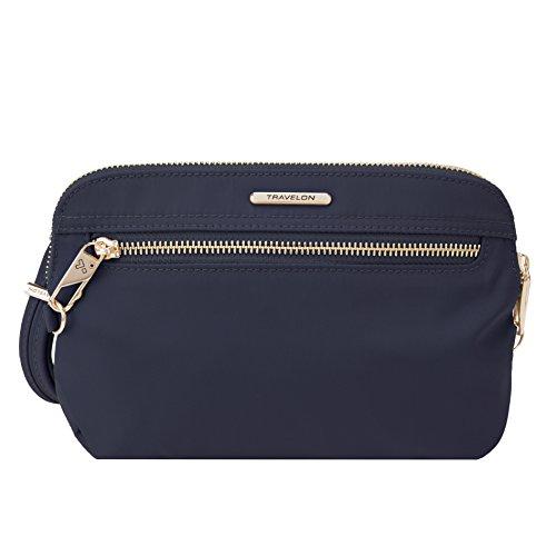 Travelon Women's Anti-Theft Tailored Convertible Crossbody Clutch Cross Body Bag, Sapphire, One Size