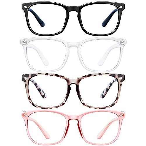 Blue Light Blocking Glasses - Women/Men 4Pack Computer Reading Gaming Anti Eyestrain Blue Light Glasses Non Prescription (pink)