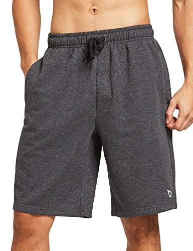 BALEAF Men's 9' Fleece Gym Shorts Cotton Casual Sweat Shorts Zipper Pockets Home Jogger Fitness Workout Charcoal XL