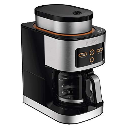 KRUPS KM550D50 Personal Café Grind Drip Coffee Maker 4 cups/20 Ounces Brew, Silver