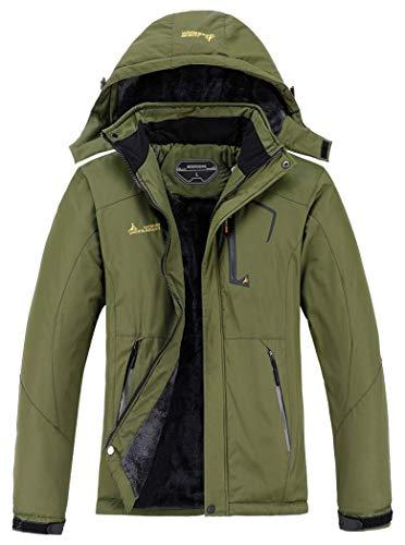 MOERDENG Men's Waterproof Ski Jacket Warm Winter Snow Coat Mountain Windbreaker Hooded Raincoat, Army Green, Large