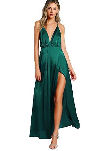 SheIn Women's Sexy Satin Deep V Neck Backless Maxi Party Evening Dress Dark Green Medium