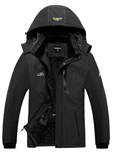 Men's Mountain Waterproof Ski Jacket Windproof Rain Jacket U219WCFY028,Black,S