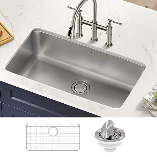 Kraus KA1US33B Dex 33-inch Undermount 16 Gauge Stainless Steel Single Bowl Kitchen Sink