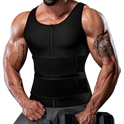 Sauna Vest for Men Waist Trainer Trimmer Mens Tank Weighted Vest Slimming Shaper Trainer 2 in 1 Belt with Zipper 4XL Black