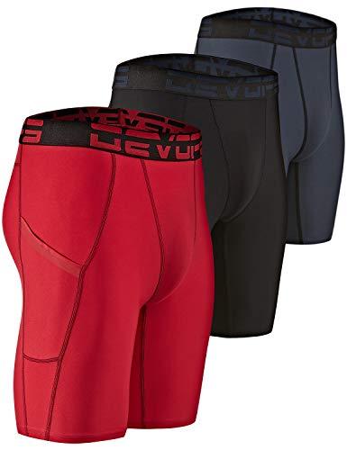 DEVOPS Men's 3 Pack Sports Performance Active Compression Cool Dry Baselayer Pocket Shorts (Large, Black/Charcoal/Red)