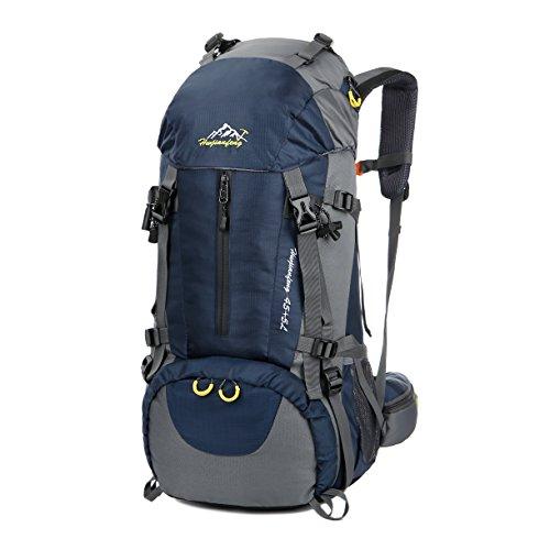 WoneNice 50L(45+5) Waterproof Hiking Backpack - Outdoor Sport Daypack with Rain Cover (Dark Blue)