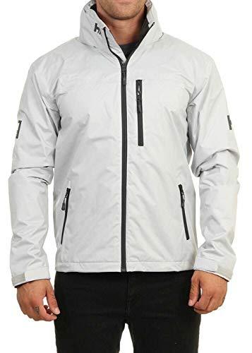 Helly Hansen Men's Crew Hooded Waterproof Windproof Breathable Rain Coat Jacket, 853 Grey Fog, Medium
