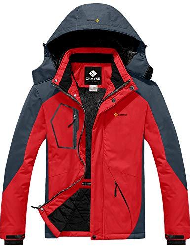GEMYSE Men's Mountain Waterproof Ski Snow Jacket Winter Windproof Rain Jacket (Oriental Red Grey,Medium)