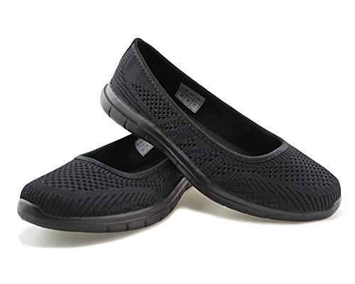 JABASIC Women Slip On Loafers Breathable Knit Flat Walking Shoes (blk/blk,8)