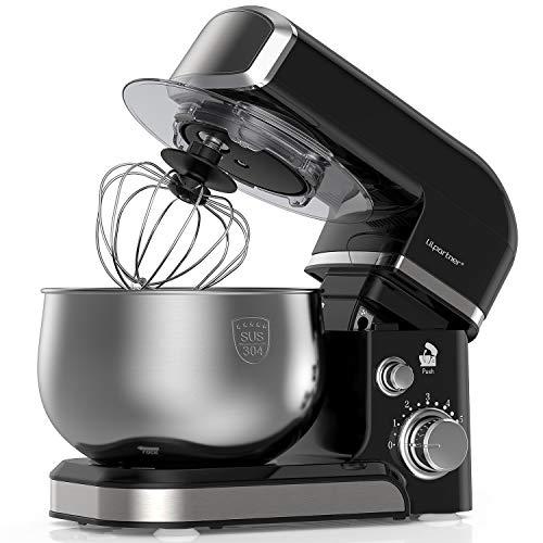LILPARTNER Stand Mixer, 1000W Electric Kitchen Mixer Food Mixer, 6-Speed Tilt-Head Dough Mixer with 304 Stainless Steel Bowl, Mixing Beater, Whisk, Dough Hook, Scraper &Splash Guard