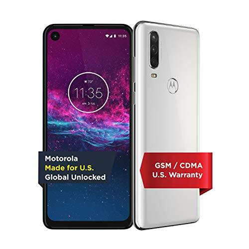 Motorola One Action - Unlocked Smartphone - Global Version - 128GB - Pearl White (US Warranty) - Verizon, AT&T, T-Mobile, Sprint, Boost, Cricket, Metro