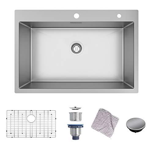 MENSARJOR Topmount Kitchen Sink, 33 x 22 inch Drop-in or Topmount 16 Gauge R10 SUS304 Stainless Steel Topmount Kitchen Sink Single Bowl (33 X 22 X 10 inch)
