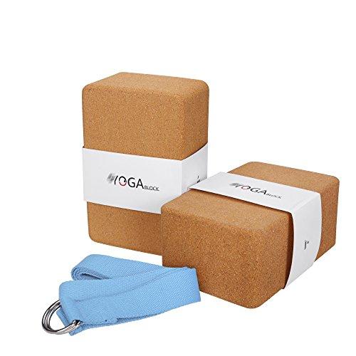JBM Yoga Blocks 2 Pack Plus Strap Cork Yoga Block Yoga Brick, Natural & Eco-Friendly Cork Yoga Block to Support and Deepen Poses, Lightweight (Cork & Blue)