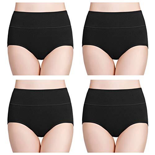wirarpa Womens Cotton Underwear 4 Pack High Waist Briefs Light Tummy Control Ladies Comfort Stretch Panties Underpants Size M,Black