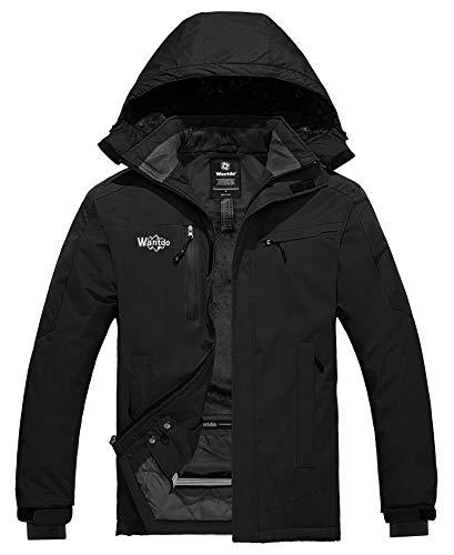 Wantdo Men's Waterproof Winter Snow Jacket Warm Cotton Padded Raincoat Black S