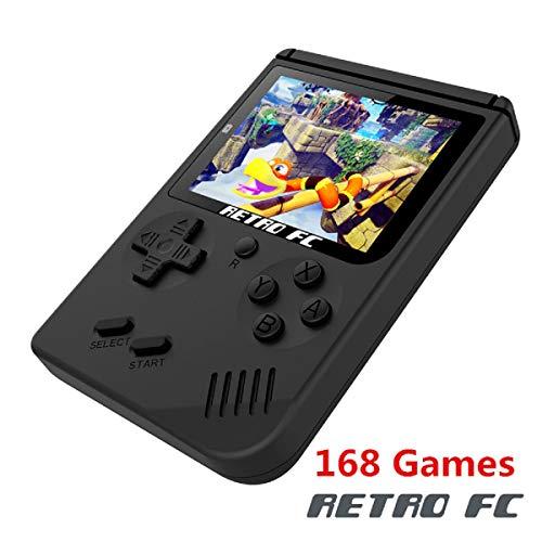 BAORUITENG Handheld Game Console, Retro FC Game Console,Video Game Console with 3 Inch 168 Classic Games (Black)