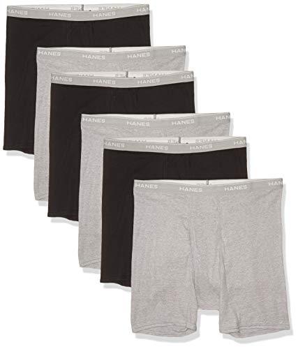 Hanes Men's Cool Dri Tagless Boxer Briefs With Comfort Flex Waistband, Multipack, 6 Pack - Black/Gray , Medium