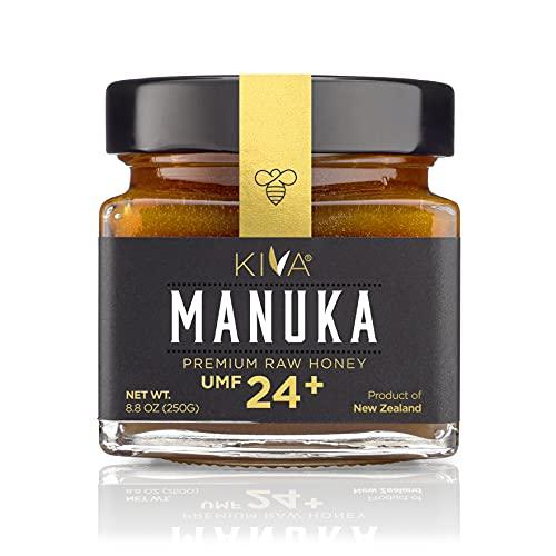 Kiva Raw Manuka Honey, Certified UMF 24+ | MGO 1122+ | GLASS JAR | 100% Pure New Zealand | Non-GMO | Traceable | UMF & MGO Certified - (8.8oz/250g)