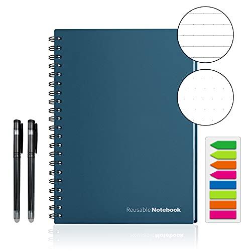 HOMESTEC Reusable Smart Notebook Erasable Wirebound Notebook Sketch Pads APP Storage(Navy Blue)