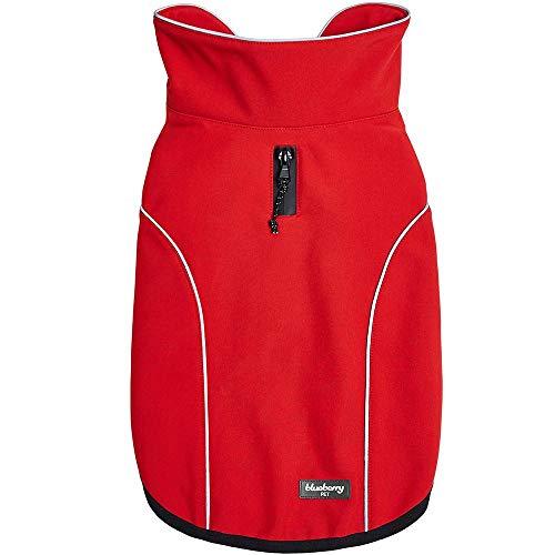 Blueberry Pet Windproof Waterproof Reflective Dog Jacket, Red, Back Length 22.5', Warm & Lightweight Winter Outdoor Windbreaker Coats Raincoats for Dogs
