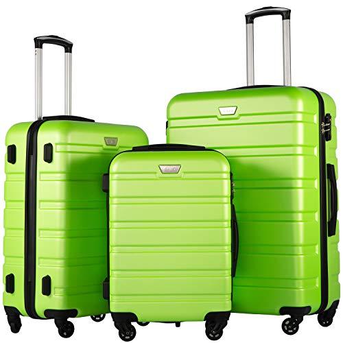 COOLIFE Luggage 3 Piece Set Suitcase Spinner Hardshell Lightweight TSA Lock (apple green2)