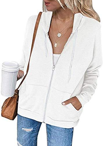 Meilidress Womens Jacket Zip Up Hoodie Sweatshirt Long Sleeve Casual Drawstring Sport Coat With Pockets White